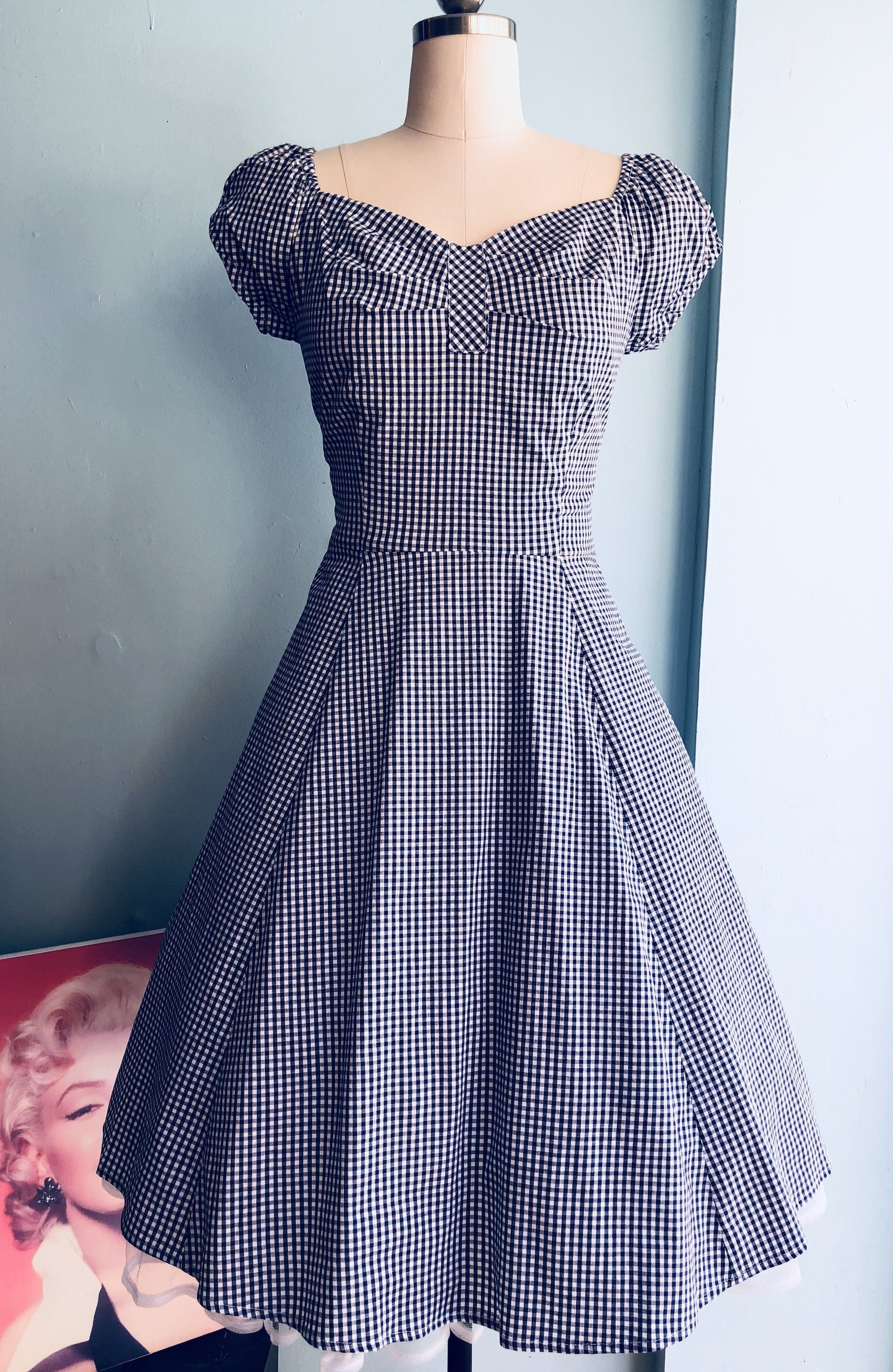 Gingham Cap Sleeve Dress in Navy by Eva Rose