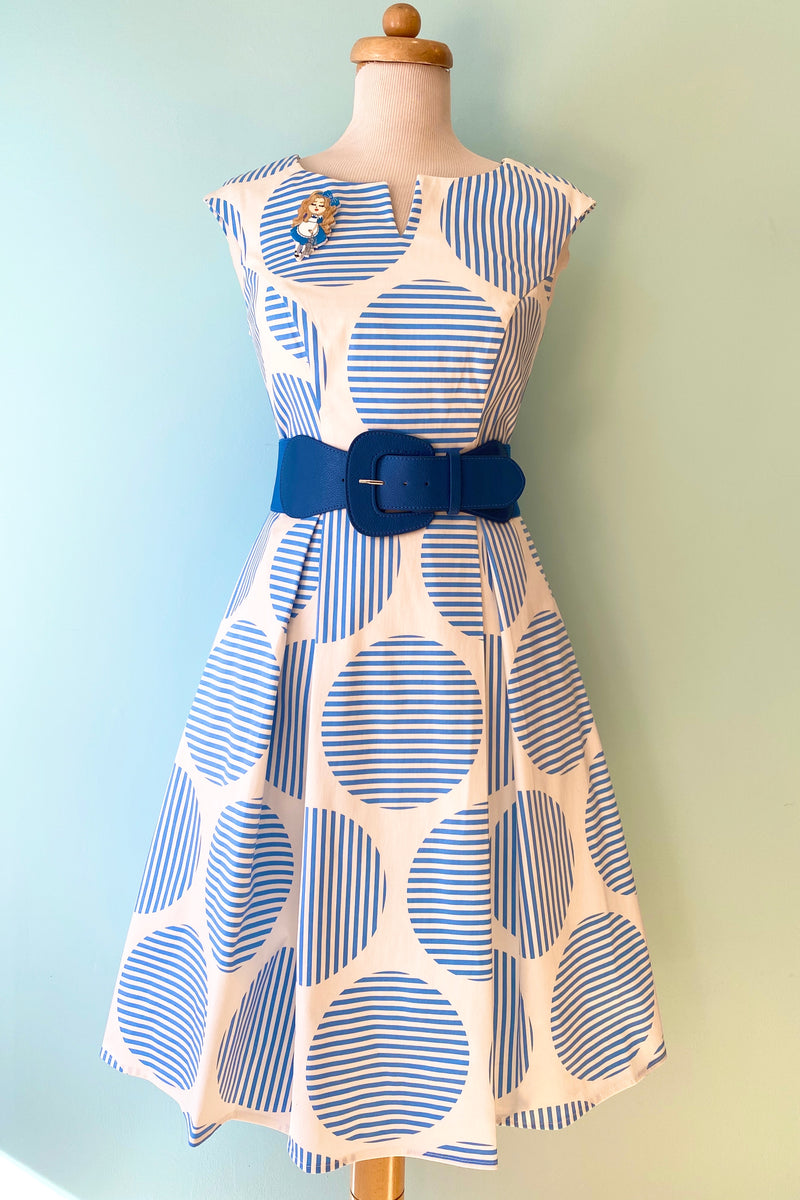 Blue and White Striped Dot Dress by Eva Rose