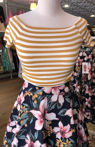 Sandra Dee Striped Top in Mustard & Ivory by Steady Clothing
