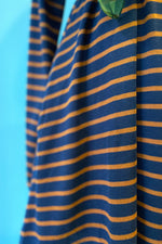 Navy and Brown Striped Jersey Tunic Dress