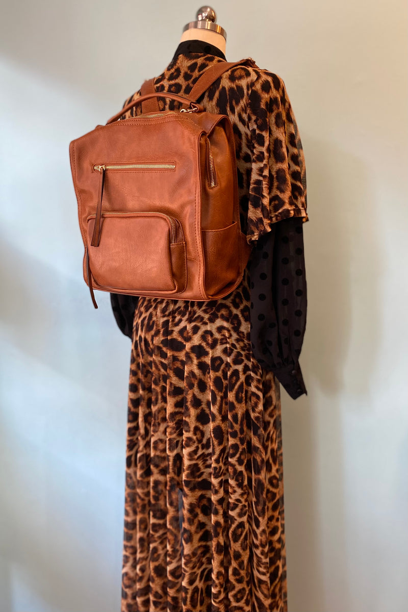Brown Zip Front Pocket Backpack