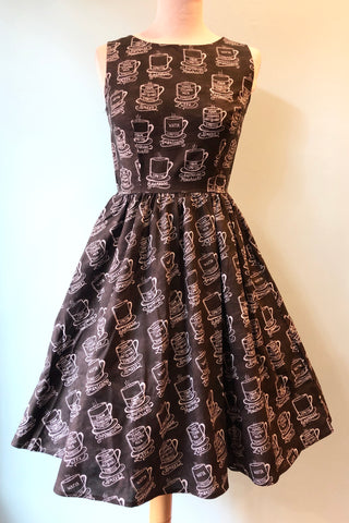 Chalkboard Coffee Print Dress by Retrolicious