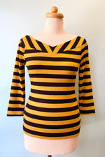 Mustard and Black Striped Scarlett Jersey Top