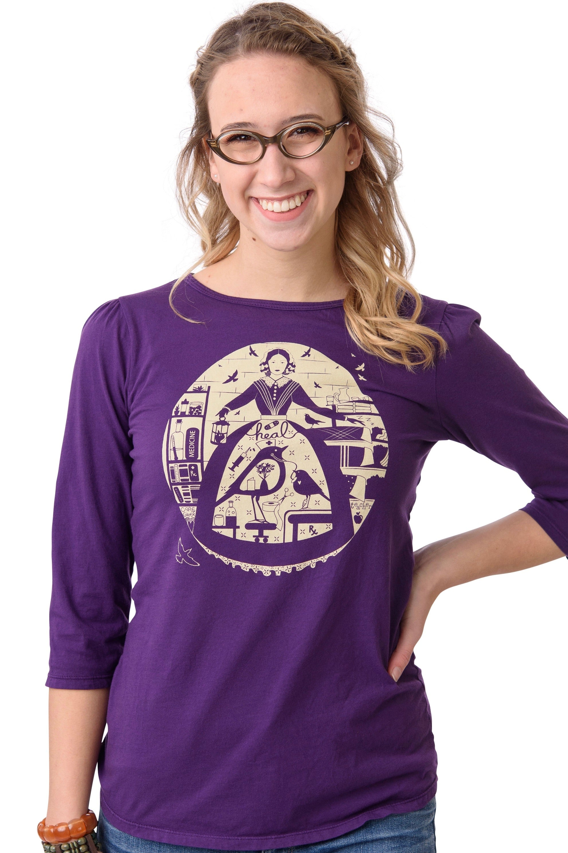 The Nurse T-Shirt Top in Purple by Blue Platypus