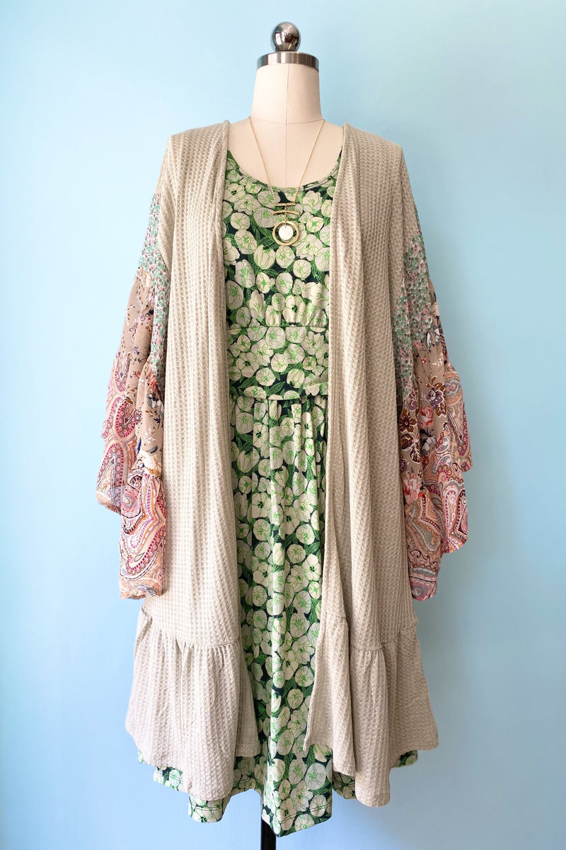 Sage Kimono Cardigan with Sheer Paisley & Floral Bell Sleeves