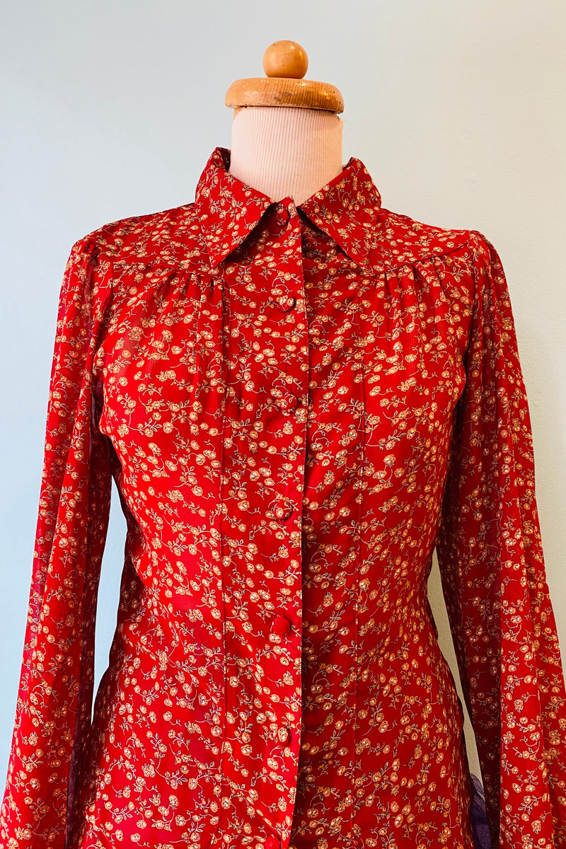 Red & Rust Floral Vine Francesca Blouse
