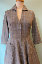 Grey Plaid Barbara Shirtwaist Dress by Voodoo Vixen