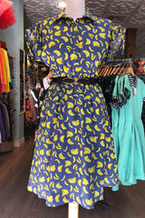 Tie Dress in Blue Banana Print by Teeberry & Weave