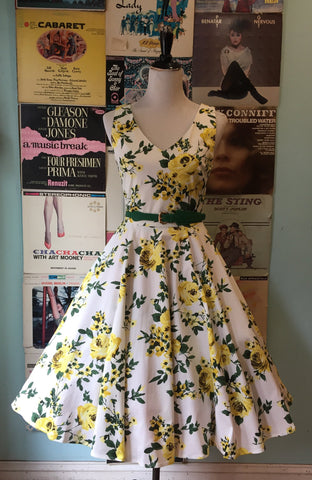 Yellow Floral V-Neck Dress by Eva Rose