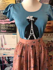 Eiffel Tower Tulip Sleeve Tee in Blue By Blue Platypus