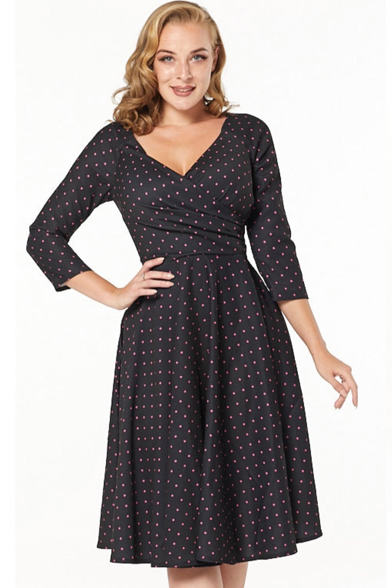 Katherine Black and Pink Polka-dot Dress by Timeless London