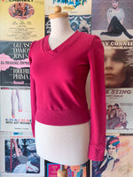 Fuchsia Pink V-Neck Cropped Sweatshirt by Blue Platypus