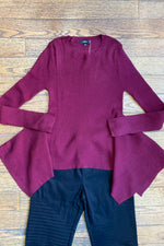 Burgundy Handkerchief Hem Sweater