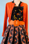 Black & Orange Halloween Print Jayne Swing Skirt