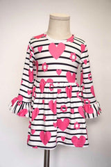 Black & White Striped Kid's Dress with Pink Hearts