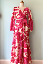 Pink Red and Ivory Tropical Tiered Maxi Skirt