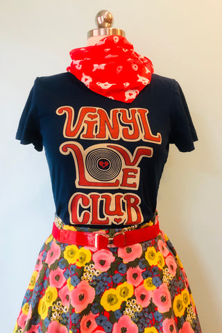 Navy Vinyl Love Club T-Shirt Top by Blue Platypus