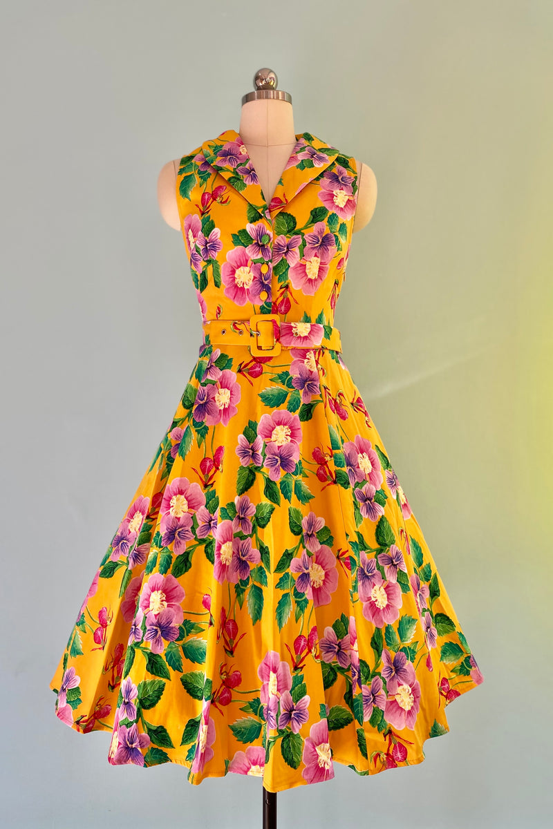Mustard Floral Jani Dress by Miss Lulo