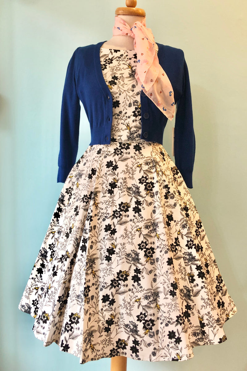 Short Sleeve Black and White Bee and Flower Dress by Eva Rose