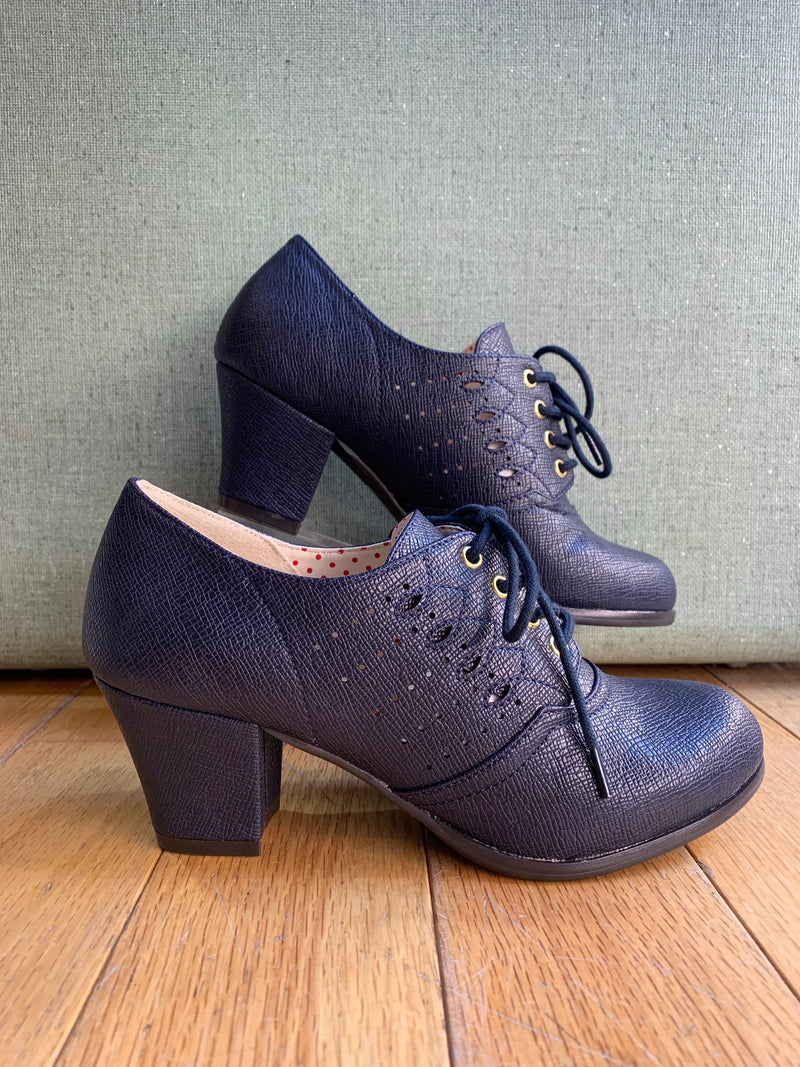 Navy Rosie Lace-Up Heeled Oxford Shoes by B.A.I.T.