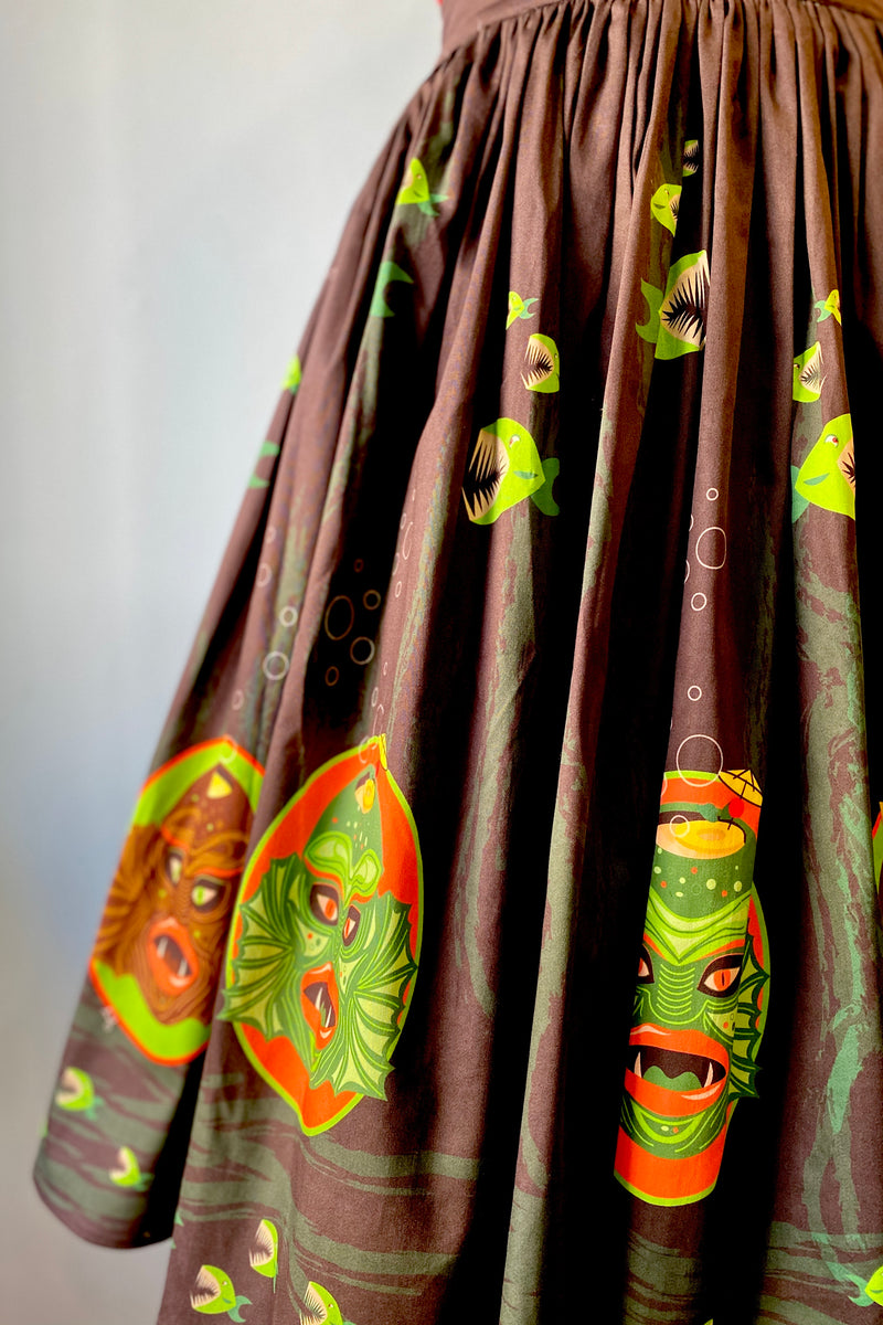 Swamp Creature Tiki Mug Gathered Skirt by Oblong Box Shop