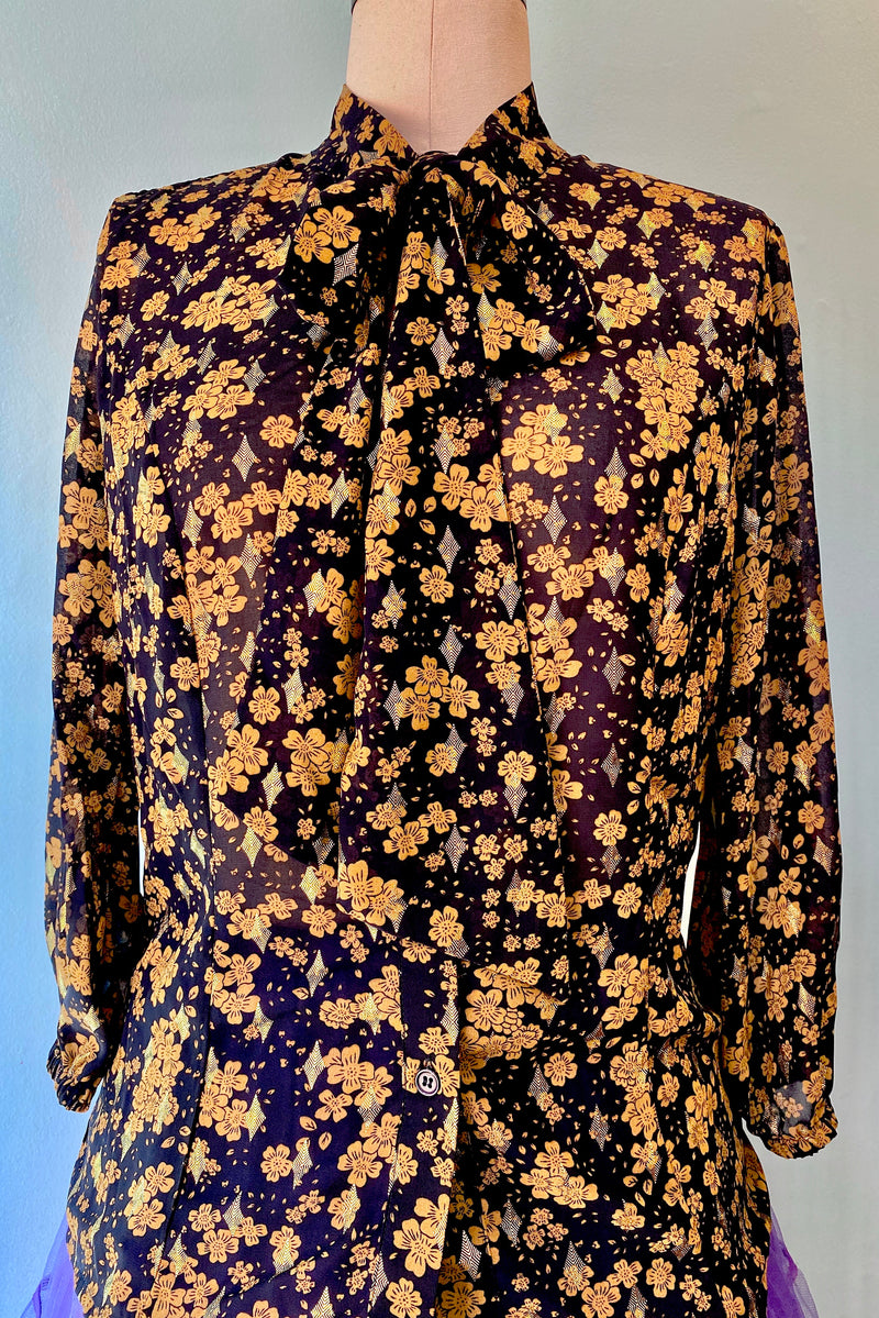 Gold and Navy Floral Valedictorian Blouse