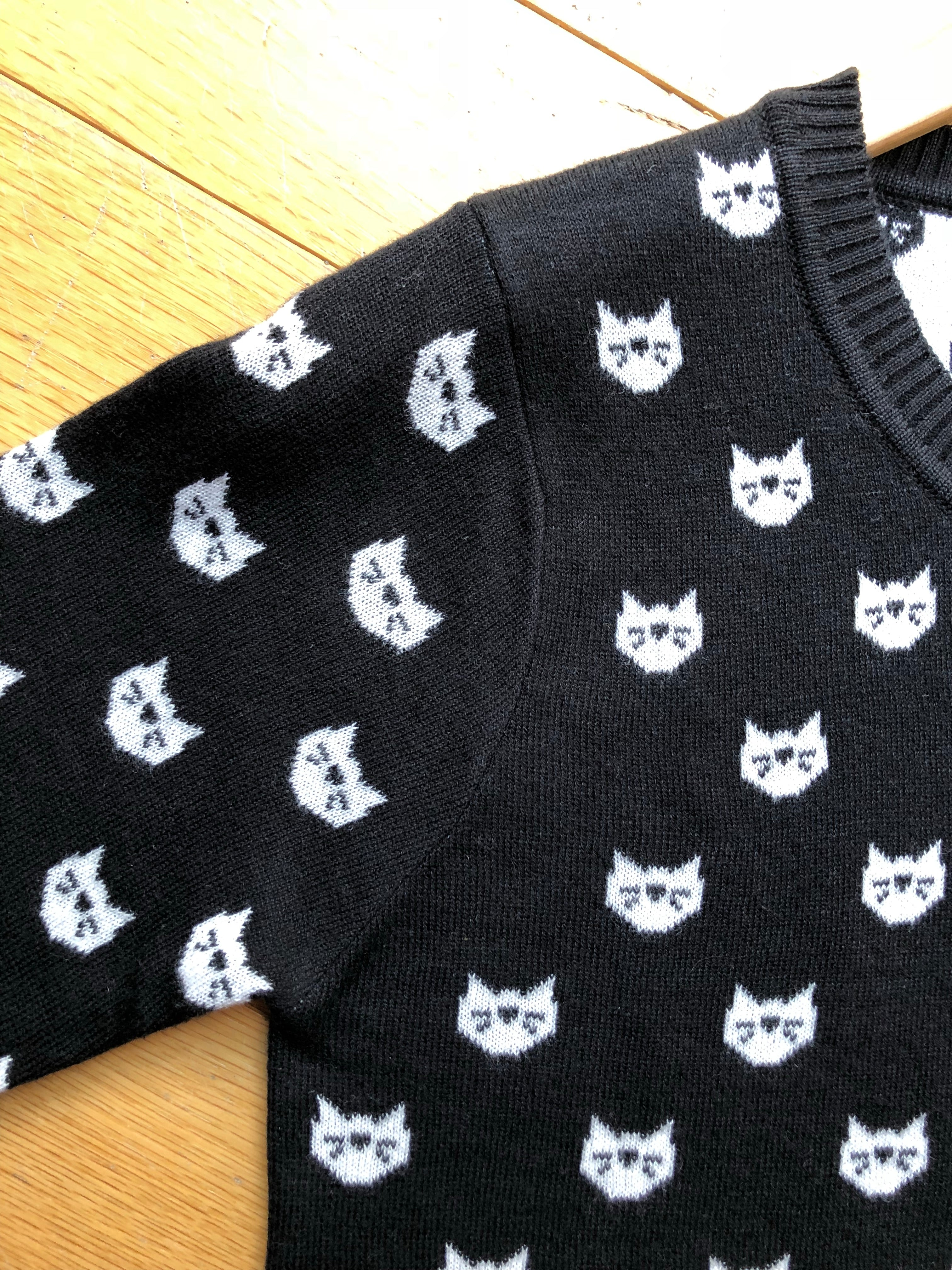 Cat Face Button Down Cardigan in Black & White by MAK
