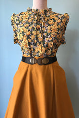 Sleeveless Tie-Neck Blouse in Yellow & Green Floral
