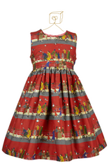 Martha Girls Dress in Red Puffin Watching