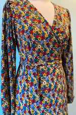 Primary Color Floral Wrap Dress by Compania Fantastica