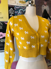 Perfect Cropped Cardi in Mustard Scottie Dog