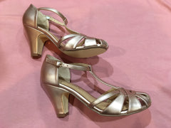 Sergi T-Strap Heel in Rose Gold by Chelsea Crew
