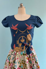 Birdcage Tulip Sleeve T-Shirt Top in Navy by Blue Platypus