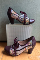 Madison Tapestry and Burgundy Lace-Up Heels by Chelsea Crew