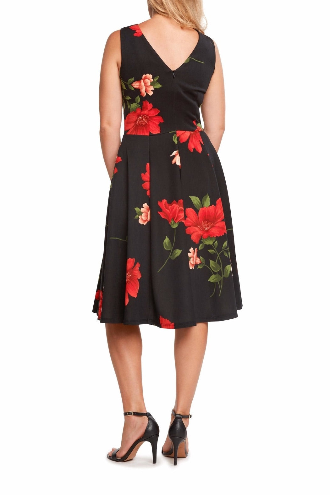 Pleated Bust Dress in Black Rose Floral