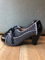 Chelsea Crew Madison Oxford Heels in Black and White Polka-Dot