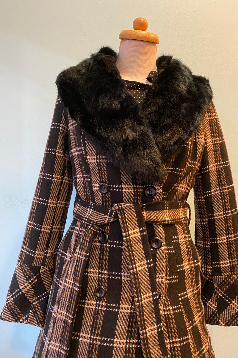Kara Black and Brown Plaid Coat by Voodoo Vixen