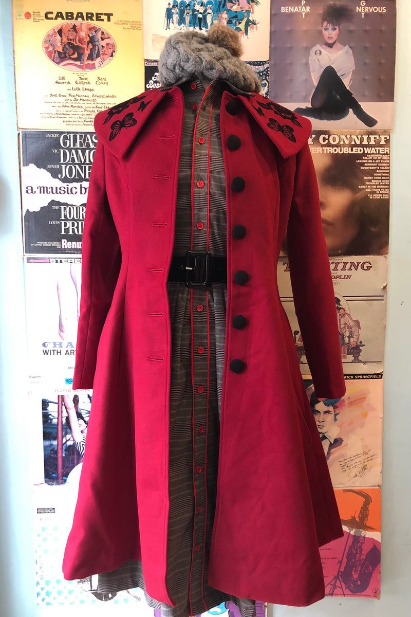 Hermione Coat in Burgundy by Hell Bunny