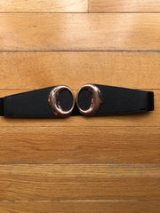 Oval Gold Buckle Wide Belt in Multiple Colors!