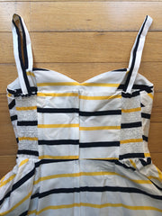 Shellie Dress in Navy & Yellow Stripe by Retrospec'd