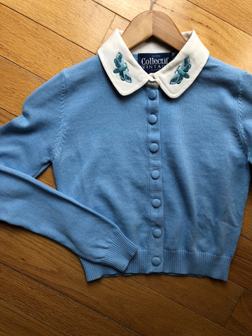 Millicent Moth Cardigan in Baby Blue by Collectif