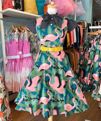 Fifi Flamingo Print Dress by Voodoo Vixen