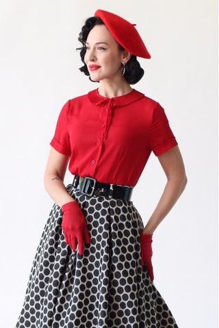 Red Ingrid Blouse by Tailor & Twirl