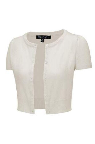 Short Sleeve Perfect Cropped Cardigan in Ivory