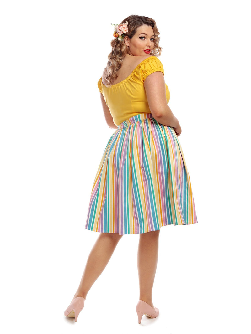 Jasmine Rainbow Stripes Skirt by Collectif