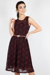 Leaf Overlay Dress in Burgundy by Voodoo Vixen