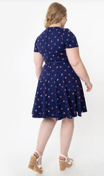 Stephanie Dress in Navy Ladybug Print by Unique Vintage