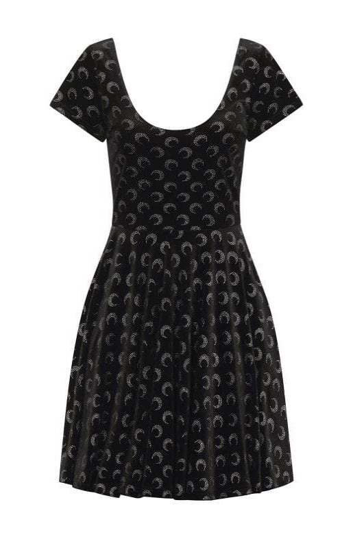 Lila Glitter Moon Velvet Skater Dress by Collectif
