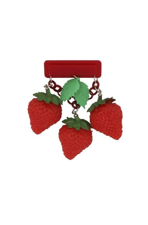 Lily 40's Strawberry Brooch by Collectif