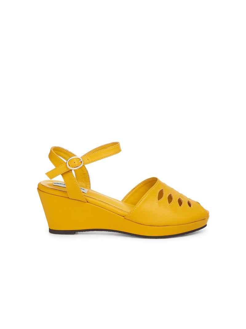 Lily Wedge Sandal in Yellow by Lulu Hun